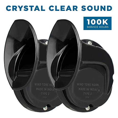 Autofy Windtone Universal Horn for All Bikes and Scooters (Set of 2, Black)