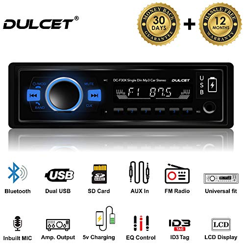 Dulcet DC-F30X 220W High Power Stereo Output Universal Fit Single Din Mp3 Car Stereo with Dual USB Ports/Bluetooth/Hands Free Calling/FM/AUX Input/SD Card Slot/Remote Control